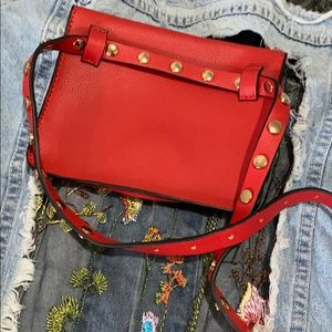 Zara Adjustable belt bag in Red with gold studs